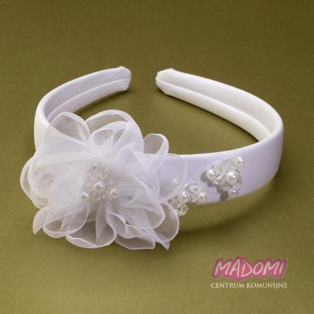 Szeroka opaska do włosów z dużym kwiatkiem i perełkami OW01