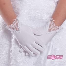 Białe rękawiczki komunijne z koronką RK30