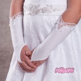 Rękawiczki komunijne na palca z koronką RK46