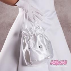 Atłasowe torebki do komunii z kryształkami TK10