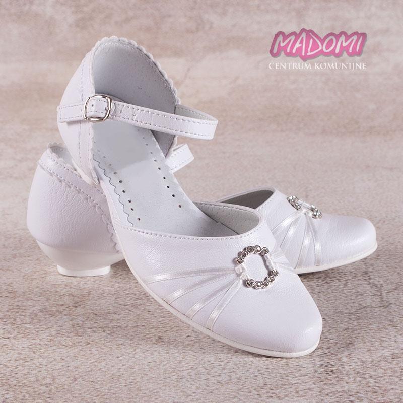 90314cb66d białe obuwie komunijne dziewczęce z tasiemkami i klamerką Miko 710