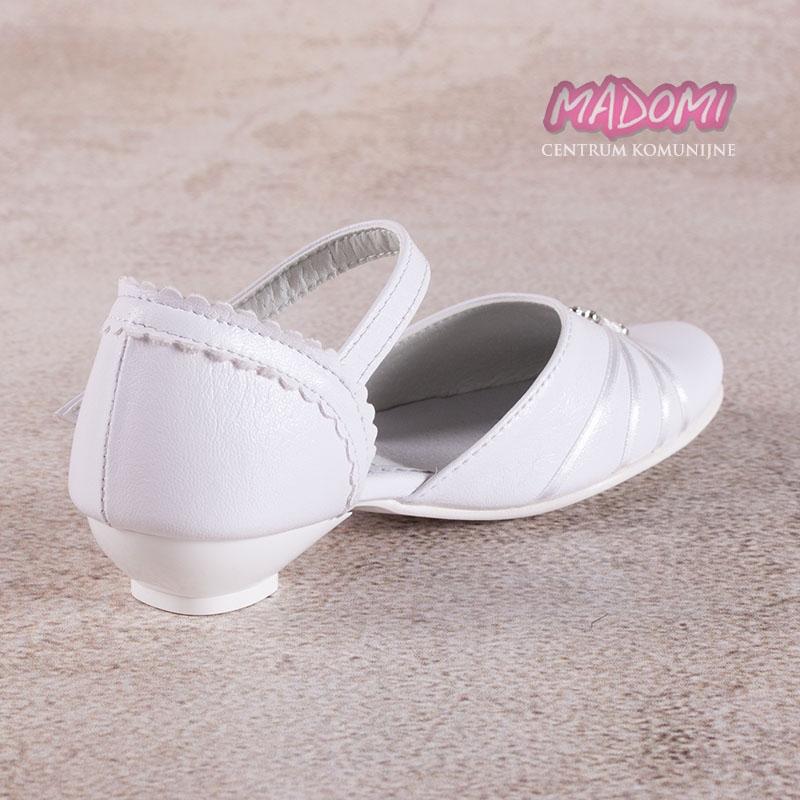 876070fff0 białe obuwie komunijne dziewczęce z tasiemkami i klamerką Miko 710 zoom 6