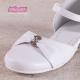 Białe obuwie komunijne dla dziewczynek na srebrnym obcasie OM673
