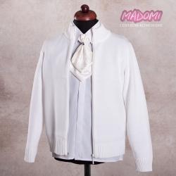 Białe sweterki komunijne chłopięce zapinane na zamek KCH-Z