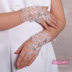 Koronkowe rękawiczki komunijne na palec RK62