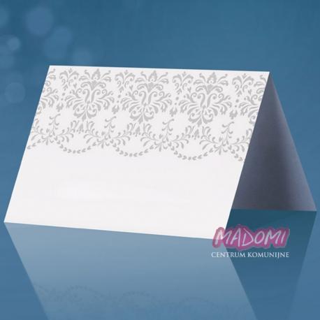 Wizytówki na stół białe perłowe WS49