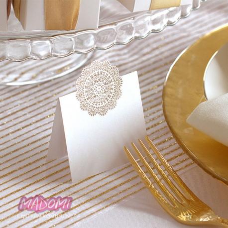 Wizytówki na stół białe perłowe WS57