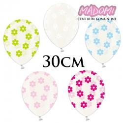Balony Crystal Clear, rozmiar 30 cm. kwiatuszki