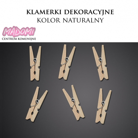 Klamerki dekoracyjne mini 3cm. kolor naturalny KLD-100