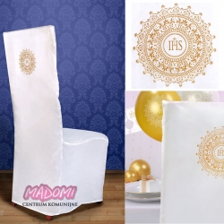 Biały pokrowiec na krzesło ze złotym nadrukiem IHS PKKCK2
