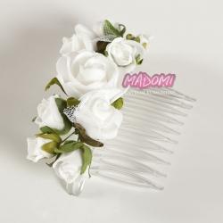 Grzebień do włosów z kwiatkami jak żywe model G16