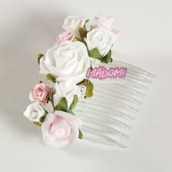 Grzebień do włosów z kwiatuszkami jak żywe G17