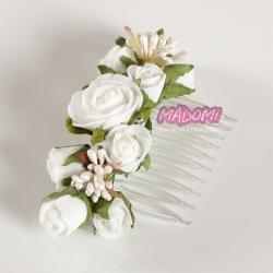 Grzebyk do włosów z kwiatuszkami jak żywe model G25