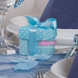 Niebieskie pudełeczka w kropeczki na słodkości 10sztuk PUDP5/B