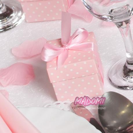 Różowe pudełeczka w kropeczki z kokardką na słodkości 10sztuk PUDP5/R