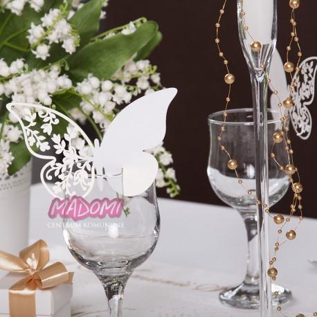 Białe wizytówki na stół motylek 10szt. WSZ6