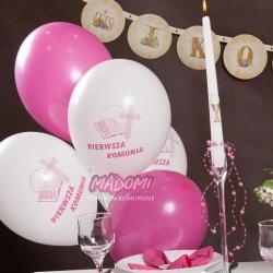 """Balony komunijne biel+różowy 12"""" 109R 10szt"""
