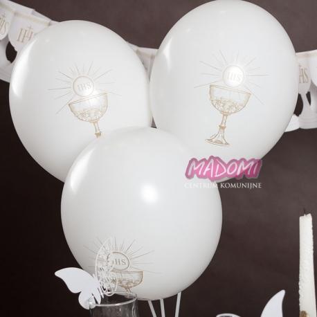Balon komunijny ze złotym nadrukiem IHS BAL111/10szt