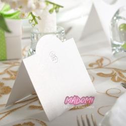 Wizytówki na stół komunijny białe z ornamentem 10szt. WSK4