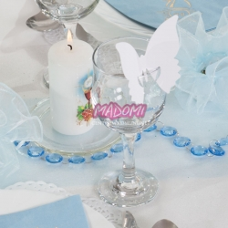 Białe wizytówki na stół motylek 10szt. WSZ1