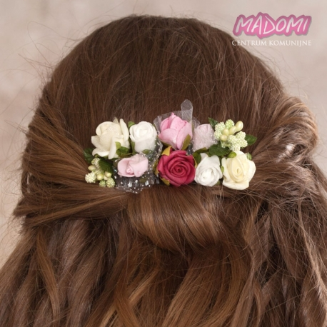 Grzebyk do włosów z kwiatuszkami jak żywe model G15