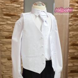 Biała kamizelka chłopięca z krawatem KZ01