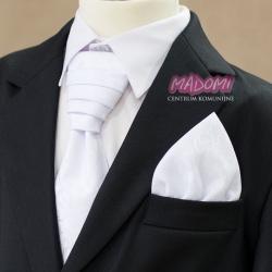 Krawat chłopięcy zapinany do Komunii Świętej biały KP16