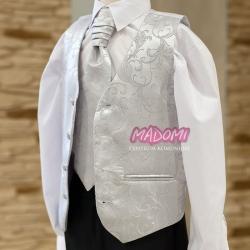 Kamizelka chłopięca z krawatem w kolorze jasno stalowym KZ07