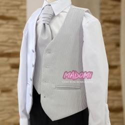 Kamizelka chłopięca z krawatem w paski w kolorze stalowym KZ44