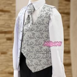 Kamizelka chłopięca żakardowa z krawatem w kolorze stalowym KZ36