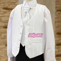 Biała kamizelka chłopięca z krawatem w paski KZ19w