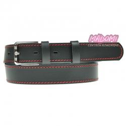 Czarny pasek do spodni z czerwonym przeszyciem PS02