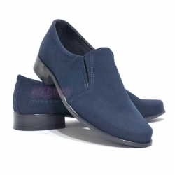 Buty komunijne dla chłopca mokasyny granatowe nubuk OM17
