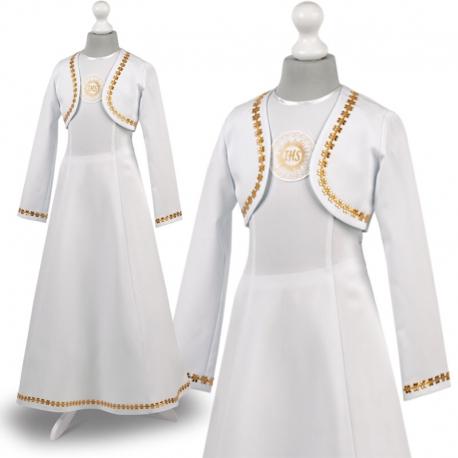 Sukienka komunijne alba sukienki komunijne alby model Cellinka ZŁ24