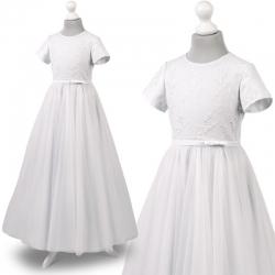 Sukienka komunijna koronka tiul Lila