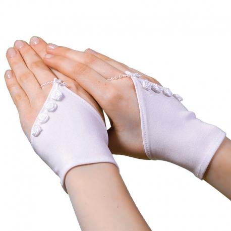 Rękawiczki komunijne krótkie na palec RKC05