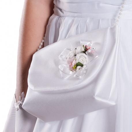 Satynowe torebki komunijne z kwiatkami jak żywe TB17