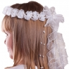 Białe wianki komunijne zdobione perełkami i kryształkami WM76