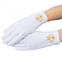 Rękawiczki komunijne pełne złoty IHS RK12