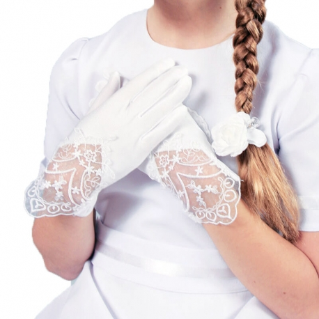 Rękawiczki komunijne z koronką pełne RK81