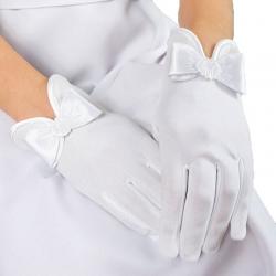 Rękawiczki do Komunii Świętej pełne z kokardą RK86