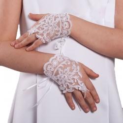 Rękawiczki komunijne koronkowe na palec RK63