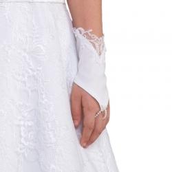Rękawiczki komunijne krótkie na palca z koronką RK56
