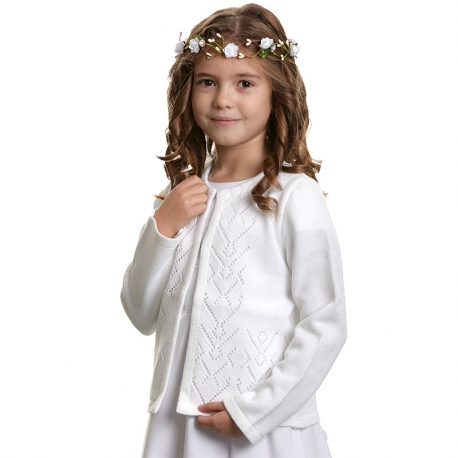 Sweter dziewczęcy do Komunii biały SW24