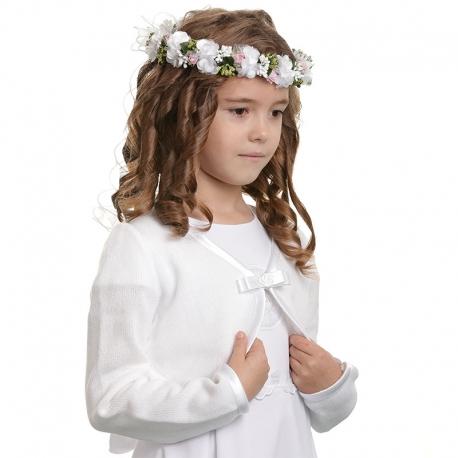 Biały sweter dziewczęcy z akrylu SW14