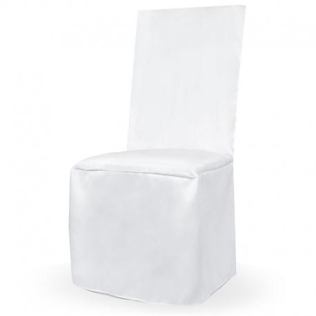 Pokrowiec na krzesło biały gładki PKKCN