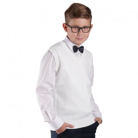 Białe sweterki komunijne chłopięce, bezrękawnik KCH-H