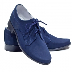Buty komunijne dla chłopca granat nubuk OM13