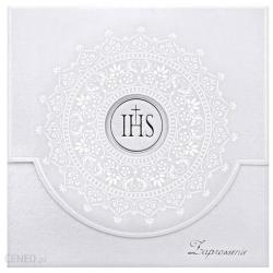 Zaproszenie na Komunię z białym ornamentem 10szt. ZPK16