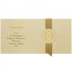 Zaproszenia komunijne z dodatkami w kolorze złota 10szt. ZPK15